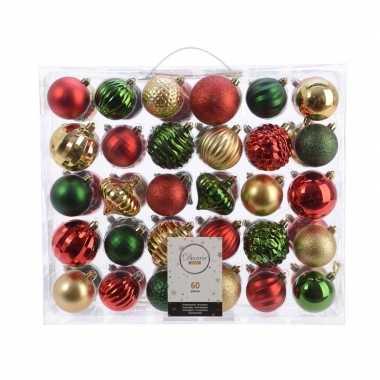 Kerstversiering kerstballen set dennen groen/ goud/rood 60 delig