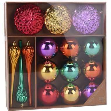 Kerstversiering kerstballen set goud/paars/rood en groen