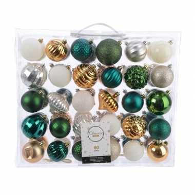Kerstversiering kerstballen set groen/goud/ zilver/ wit 60 delig