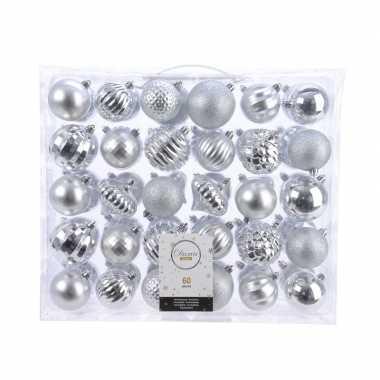 Kerstversiering kerstballen set zilver 60 delig kunststof