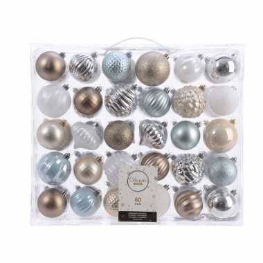 Kerstversiering kerstballen set zilver/champagne/blauw/bruin 60x