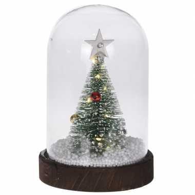 Kerstversiering kerstboom in stolp 17 cm