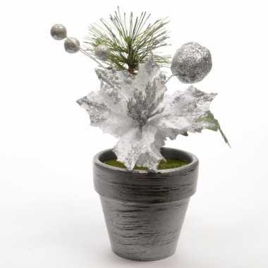 Kerstversiering poinsetta kerstster zilver16 cm