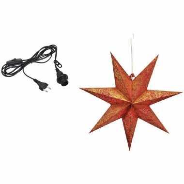 Kerstversiering rode kerststerren 45 cm inclusief zwarte lichtkabel