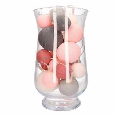 Kerstversiering roze/grijze verlichting in vaas