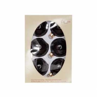 Kerstversiering zwarte kerstballen van glas 7 cm
