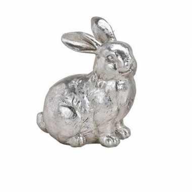 Konijn haas versiering beeldje zittend zilverkleurig 12 cm
