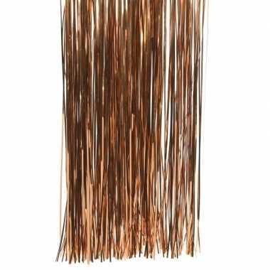 Koper bruine kerstversiering folie slierten 50 cm