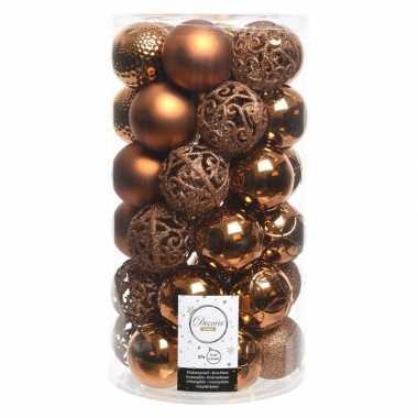 Koper bruine kerstversiering kerstballenset kunststof 6 cm 36x