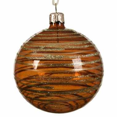 Koper bruine kerstversiering transparante kerstballen 8cm glas