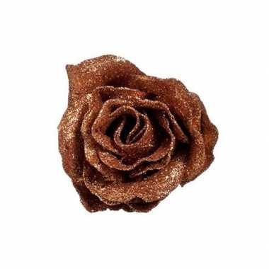 Koperen roos met glitters op clip 7 cm kerstversiering