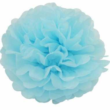 Lichtblauwe pompom versiering 25 cm