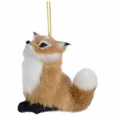 Lichtbruine vos kerstversiering hangversiering 8 cm