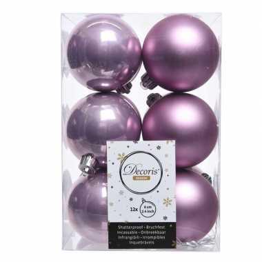 Lila paarse kerstversiering kerstballen 24x kunststof 6 cm