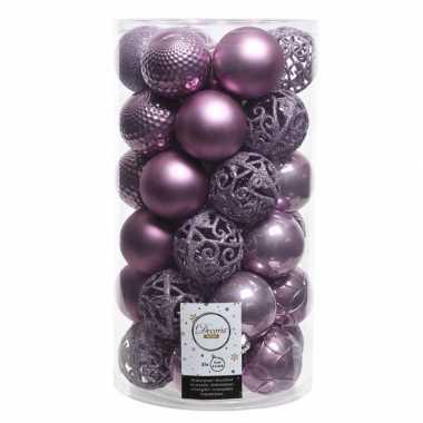 Lila paarse kerstversiering kerstballenset kunststof 6 cm 36x