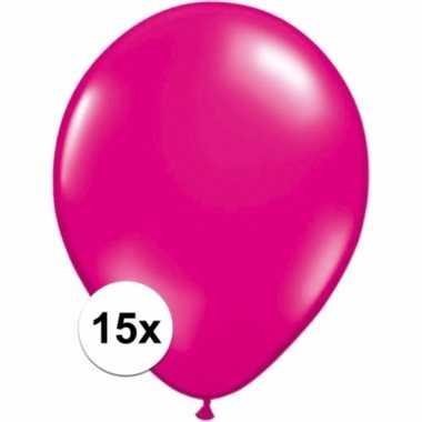 Magenta roze versiering ballonnen 15 stuks