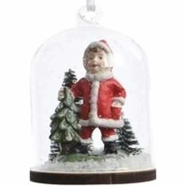 Meisje in kerstman pak in sneeuwbol kerstversiering hangdecorati
