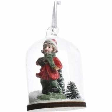 Meisje in sneeuwbol kerstversiering hangversiering 8 cm