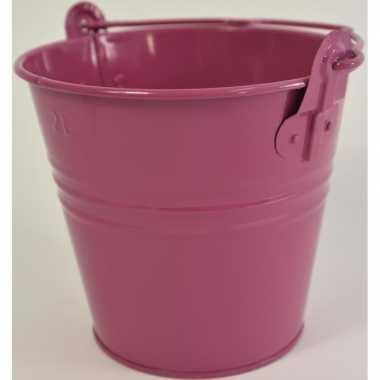 Metalen emmer versiering fuchsia roze 16 x 14 cm miniatuur