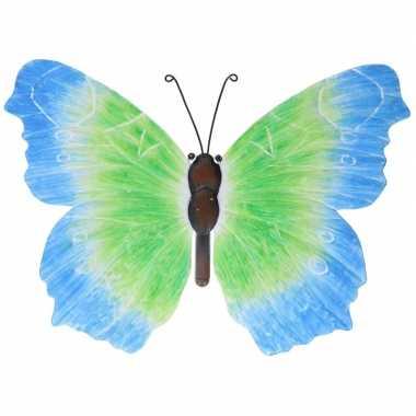Metalen vlinder blauw/groen 40 cm tuin versiering