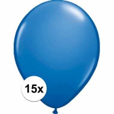 Metallic blauwe versiering ballonnen 15 stuks