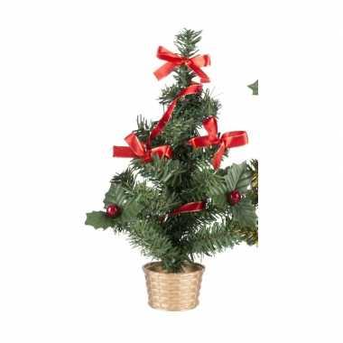 Mini kerstboompje goud met rode versiering 45 cm for Versiering goud