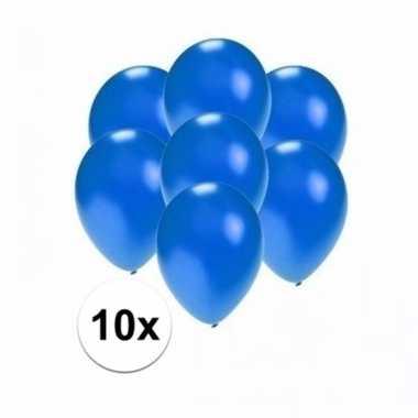 Mini metallic blauwe versiering ballonnen 10 stuks