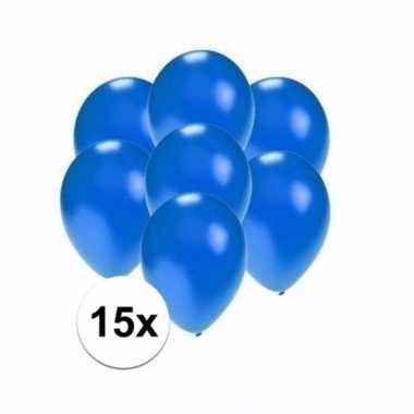 Mini metallic blauwe versiering ballonnen 15 stuks