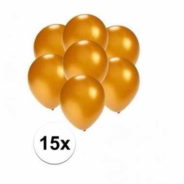 Mini metallic gouden versiering ballonnen 15 stuks
