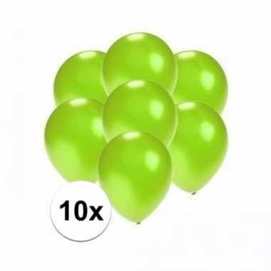 Mini metallic groene versiering ballonnen 10 stuks