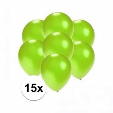 Mini metallic groene versiering ballonnen 15 stuks