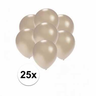 Mini metallic zilveren versiering ballonnen 25 stuks