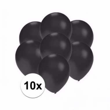 Mini metallic zwarte versiering ballonnen 10 stuks