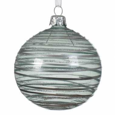 Mintgroene kerstversiering transparante kerstballen van glas 8cm