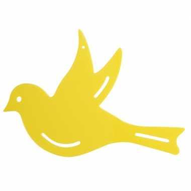 Muurversiering vogel geel 22 cm