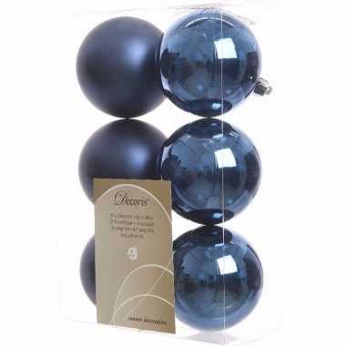 Mystic christmas kerstboom versiering kerstballen blauw 6 x