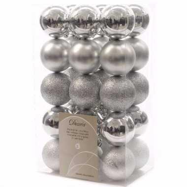 Mystic christmas kerstboom versiering kerstballen zilver 30 x