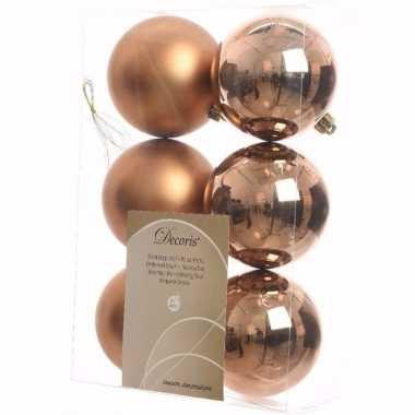Nature christmas kerstboom versiering kerstballen brons 6 x