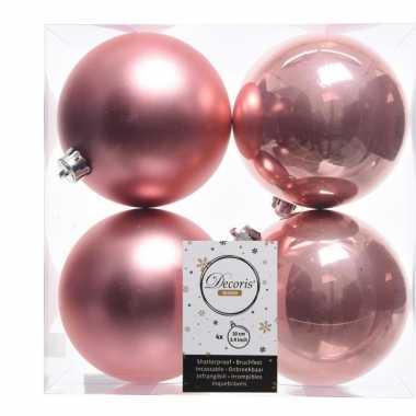 Oud roze kerstversiering kerstballen 8x kunststof 10 cm