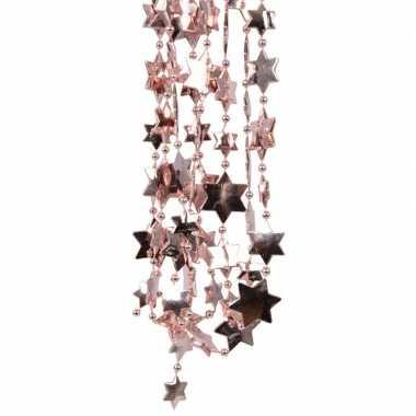 Oud roze kerstversiering ster kralenslinger 270 cm