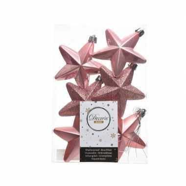 Oud roze kerstversiering sterren kerstballen 7,5 cm