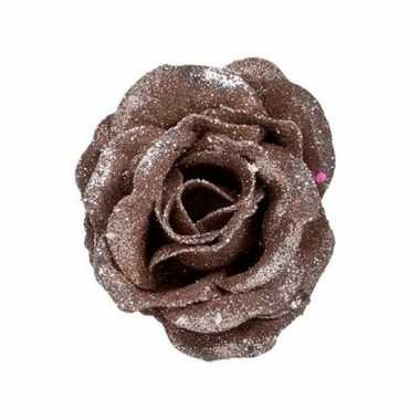 Oud roze roos met glitters op clip 7 cm kerstversiering