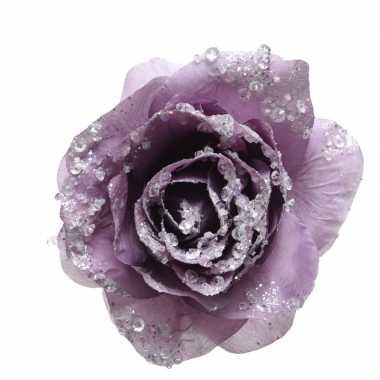 Paarse versiering bloem 14 cm op clip