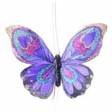 Paarse vlinder kerstversiering hangversiering 9 cm
