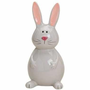 Paashaas/konijn versiering beeldje grijs 18 cm