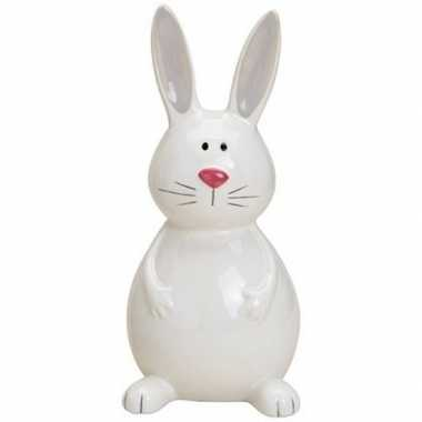Paashaas/konijn versiering beeldje wit 18 cm