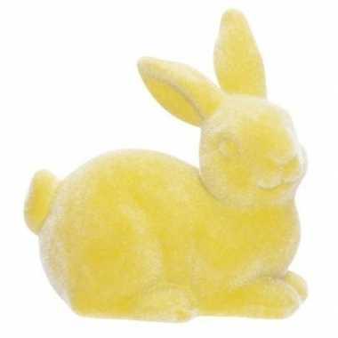 Paashaas/konijn versiering figuur/beeld geel 6 cm