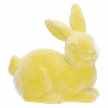 Paashaas/konijn versiering figuur/beeld geel 9 cm