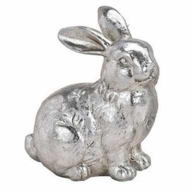 Paashaas versiering beeldje zittend zilver 12 cm