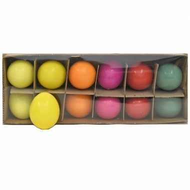 Paasversiering kippen eieren gekleurd 12 stuks
